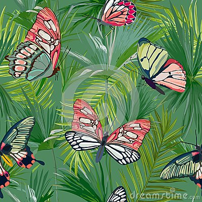 Free Tropical Palm Leaves Seamless Pattern. Jungle Background With Exotic Butterflies. Floral Fashion Design For Fabric, Textile Royalty Free Stock Image - 105600046