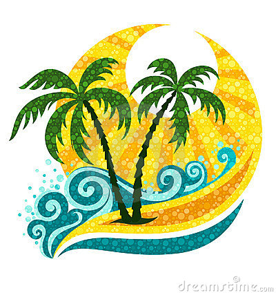 Tropical palm in sea waves and sunlight