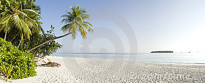 Tropical panoramic view of Ihuru Island Maldives