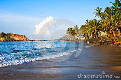 Tropical paradise beach on sunrise light