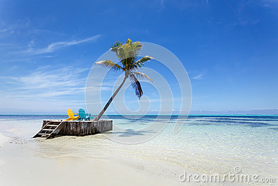 Tropical paradise beach with white sand, palm tree and two beach chairs