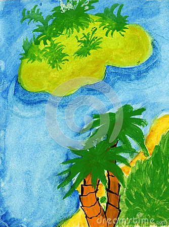 Tropical paradise child drawing