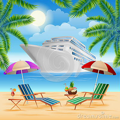 Free Tropical Paradise Cruise Ship. Exotic Island With Palm Trees Stock Photos - 70283723