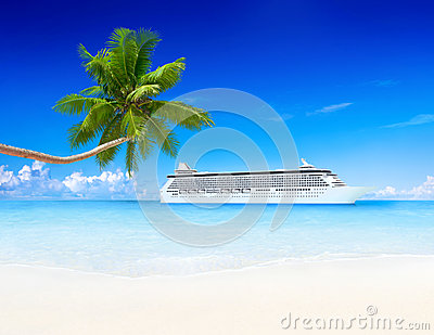 Tropical Paradise with Cruise Ship and Palm Tree