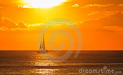 Tropical paradise, perfect sunset, ship go home