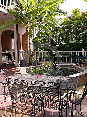 Tropical patio with fountain