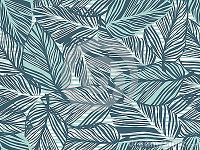Tropical pattern, palm leaves seamless vector floral background. Exotic plant on stripes print illustration. Summer nature jungle Vector Illustration