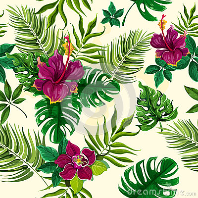 Free Tropical Plants Flowers Seamless Pattern Stock Photo - 56902810