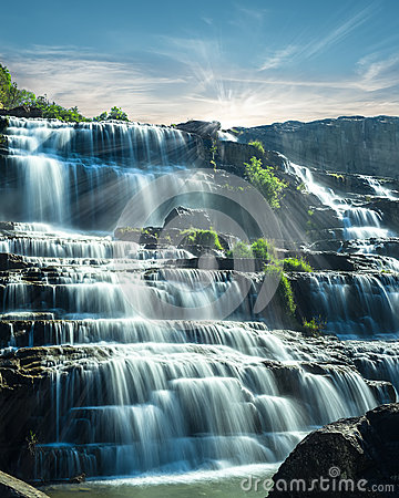 Free Tropical Rain Forest Landscape With Flowing Blue Water Of Pongour Waterfall. Vietnam Royalty Free Stock Image - 40459896