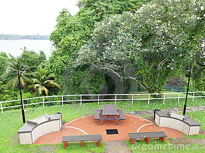 Tropical resort garden with barbecue pits