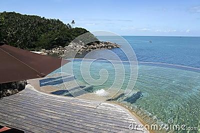Tropical resort infinity pool koh samui