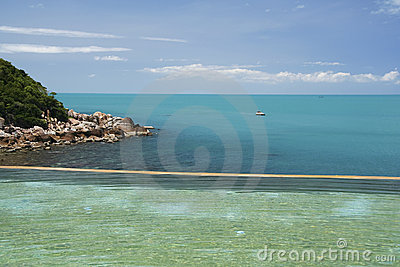Tropical resort infinity pool koh samui thailand