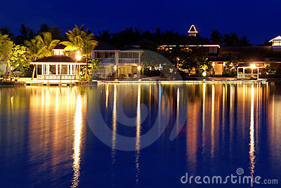 Tropical resort at night