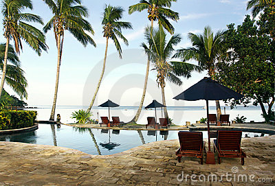 Tropical resort with pool