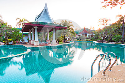 Tropical resort scenery at sunrise