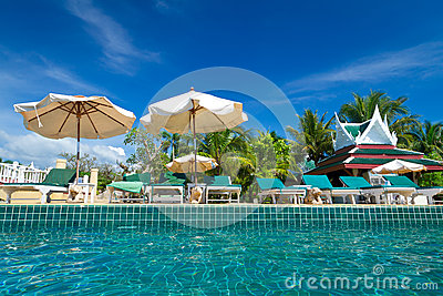 Tropical resort scenery in Thailand