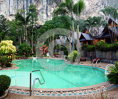 Tropical resort with swiming pool