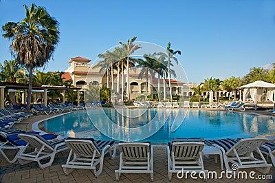 Tropical resort swimming pool area