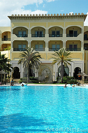Tropical resort - swimming pool and hotel