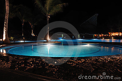 Tropical Resort Swimming Pool at Night