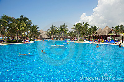 Tropical resort swimming pool at the Riviera Maya Editorial Image