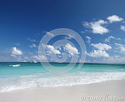 Tropical  Sand Beach and Caribben Ocean