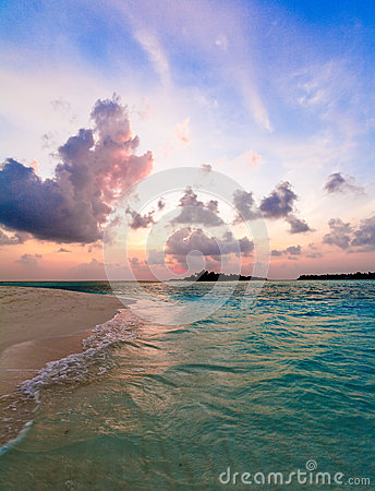 Tropical Sand Beach at Sunset, Maldives