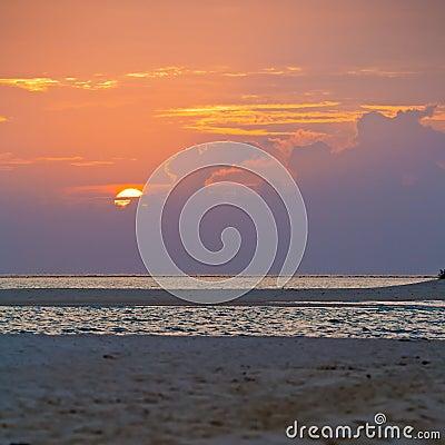 Tropical Sand Beach at Sunset, Maldives