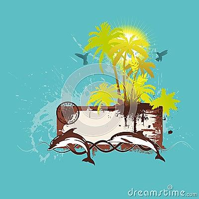 Tropical scene banner