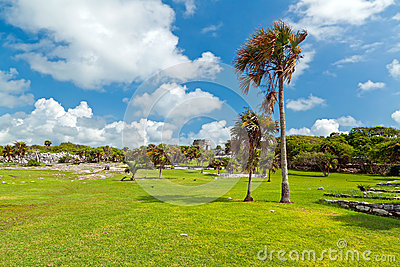 Tropical scenery of Tulum in Mexico