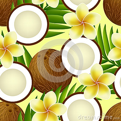 Tropical seamless pattern with coconut, flowers