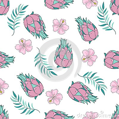 Free Tropical Seamless Pattern Colorful Vector TROPICAL FRUIT Royalty Free Stock Image - 121042786