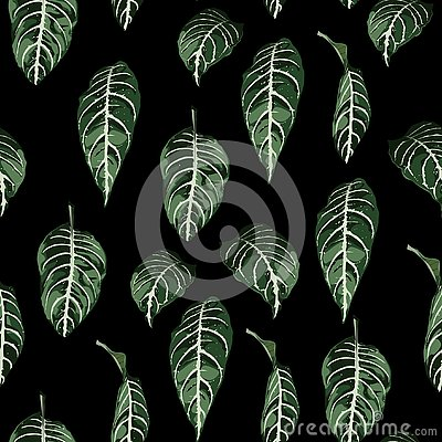 Free Tropical Seamless Pattern With Exotic Trees Leaves. Stock Photo - 131668650