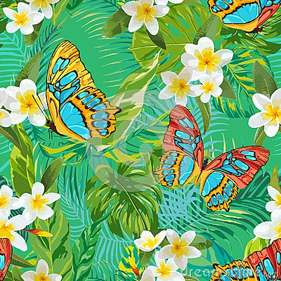 Free Tropical Seamless Pattern With Flowers And Butterflies. Palm Leaves   Royalty Free Stock Photo - 105600065