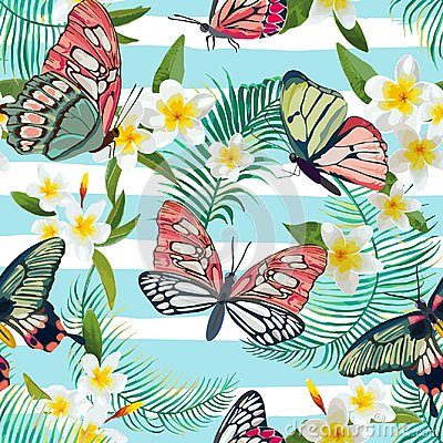 Free Tropical Seamless Pattern With Flowers And Exotic Butterflies. Palm Leaves Floral Background. Fashion Fabric Design Royalty Free Stock Photos - 105600038