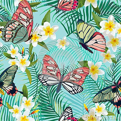 Free Tropical Seamless Pattern With Flowers And Exotic Butterflies. Palm Leaves Floral Background. Fashion Fabric Design Royalty Free Stock Photos - 105600158
