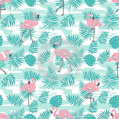 Free Tropical Seamless Pattern With Pink Flamingos And Green Palm Leaves. Vector Design. Stock Images - 92339354