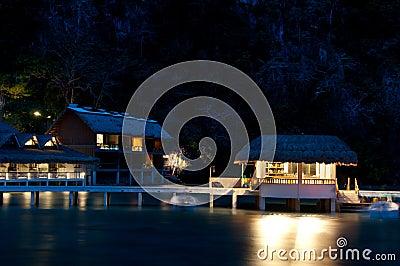 Tropical seaside resort night view