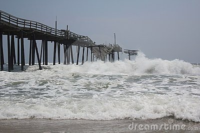 Tropical Storm Collides with the Frisco Pier Editorial Photography