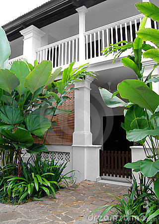 Free Tropical Style House With Lush Garden Stock Image - 13608351