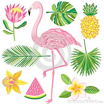 Free Tropical Summer Vector Illustration. Flamingo, Pineapple, Jungle Leaves Royalty Free Stock Photos - 110329188