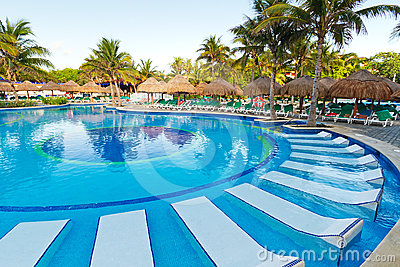 Tropical sunbeds in swimming pool