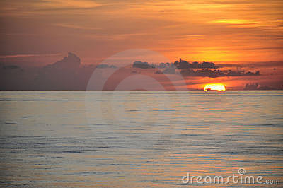 Tropical sunrise over ocean