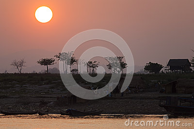 Tropical Sunset Along Irrawaddy