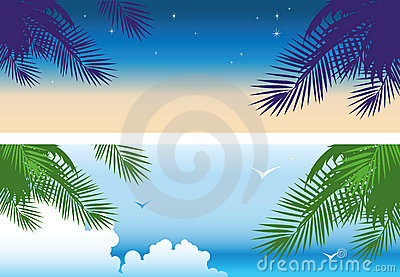 Tropical sunset banners