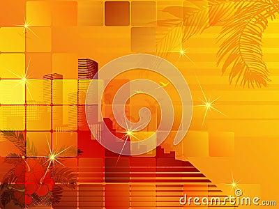 Tropical sunset cityscape