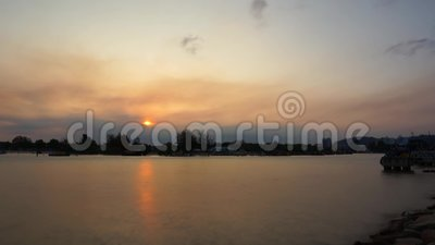 Tropical sunset with fishing ship stock video