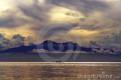 Tropical sunset over mountains