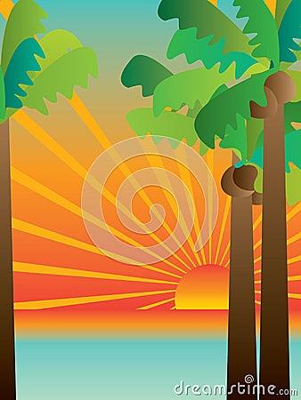 Free Tropical Sunset Scene_eps Royalty Free Stock Photo - 40403985