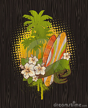 Tropical surf vintage emblem